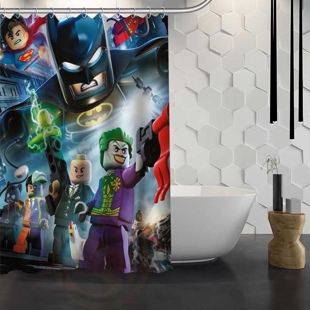 Custom Lego Batman Shower Curtain With Hooks Fabric Bathroom Eco Friendly Waterproof