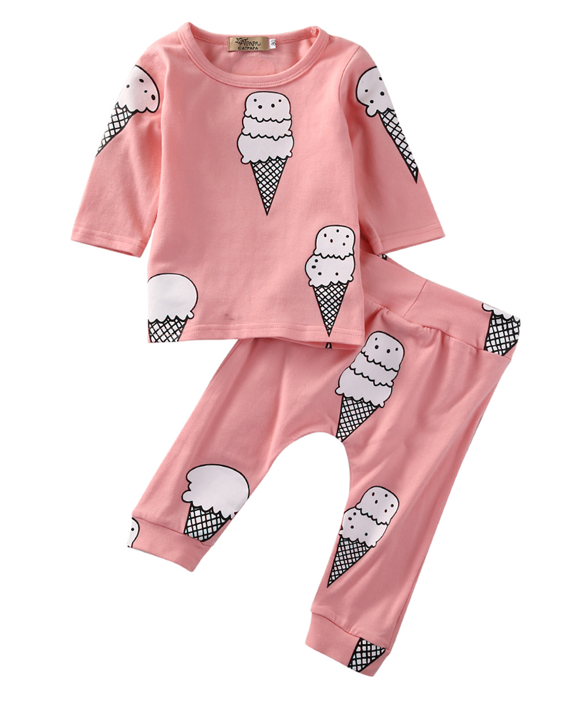 2Pcs New Casual Newborn Baby Girls Clothing Print Ice Cream T-shirt +Long Pants Outfit Set Clothes 0-24 M