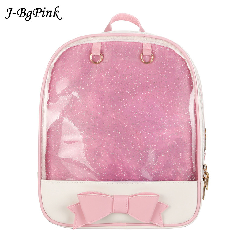 56e6663a6ad7 Kawaii Transparent Heart Window Lolita Student School Bag Backpack Candy  Color Lovely Ita Bag Sweet Cute