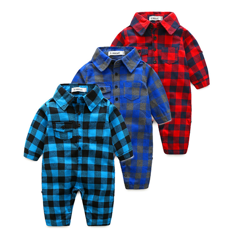 Eafreloy New Spring Autumn Infant Baby Rompers Long Sleeve Gentleman style plaid jumpsuit Outfits Toddler Boys Clothinng T71 selenga t71