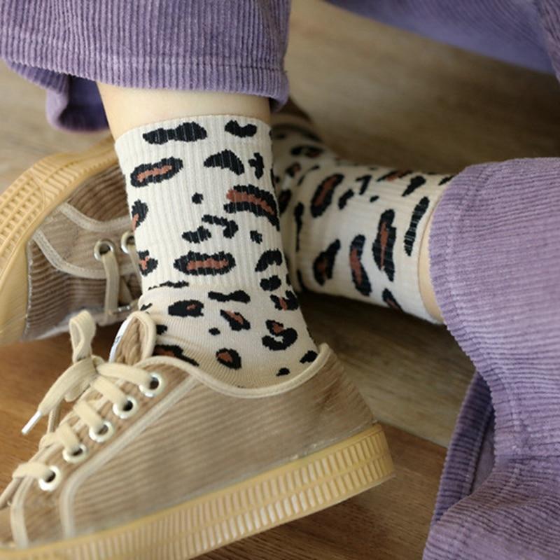 Classic Spring Fashion Leopard Cotton Women Socks Special Retro Animal Leopard Print Socks High Quality Vintage Camouflage Socks