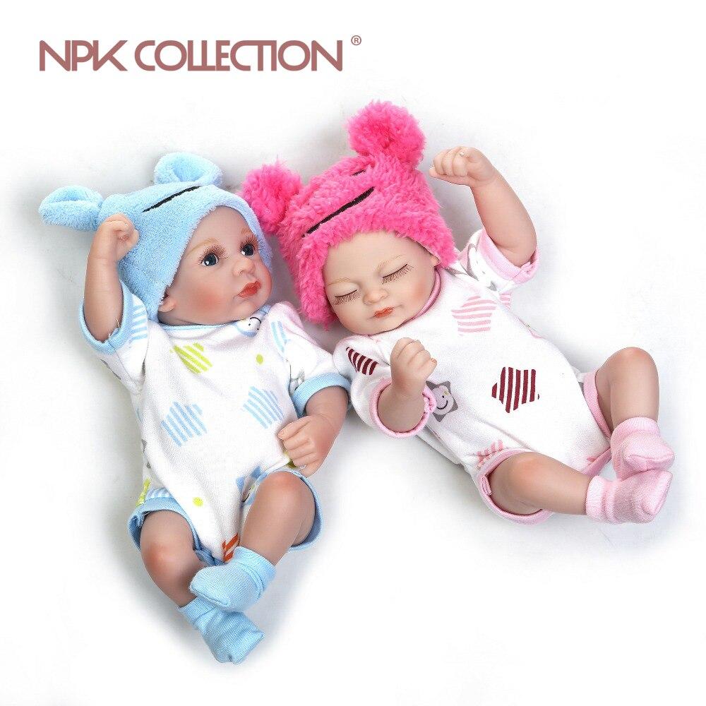 NPK mini-bebe renascer boneca brinquedos venda quente slicone renascer baby dolls mini Bonecas de Presente de Natal bonito do bebê gêmeo