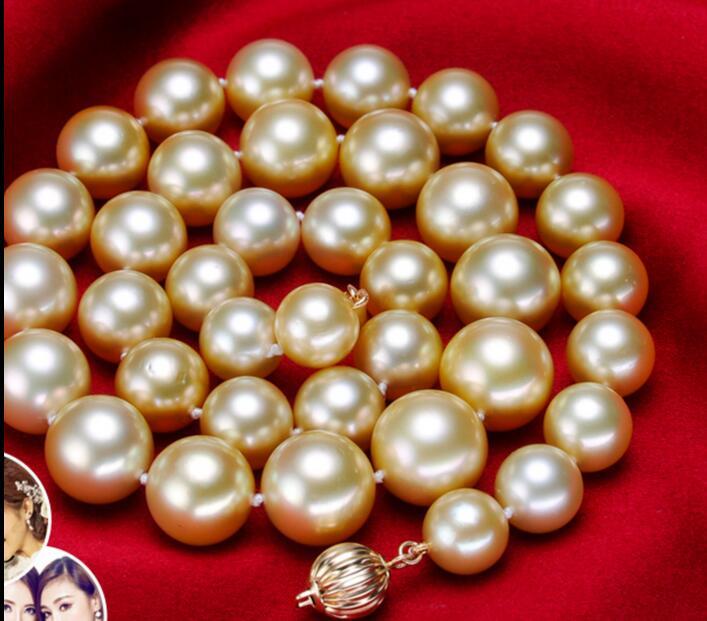Énorme collier de perles en or rond 11-13 MM 18 pouces