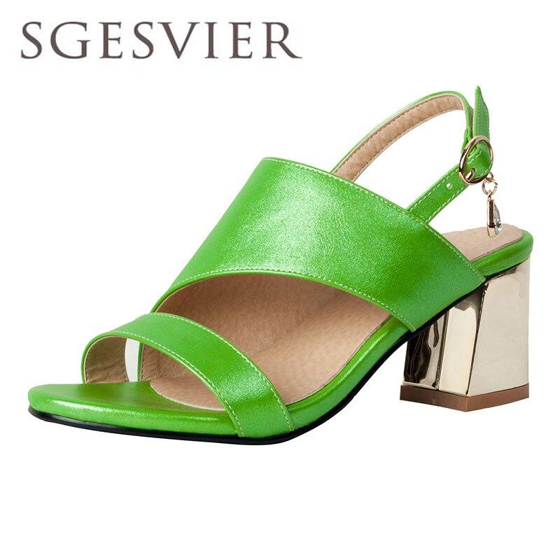 SGESVIER Women Sandals Open Toe Womens Sandles Hoof Heel Women Shoes European Gladiator Shoes Vogue Party Shoes dxj1970