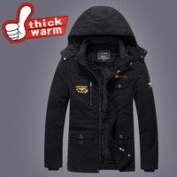Winter Men Down Parkas casual military Hooded Detachable Cap Jackets Man Hooded Thick Warm Outwear Overcoat Wadded Coat Solid