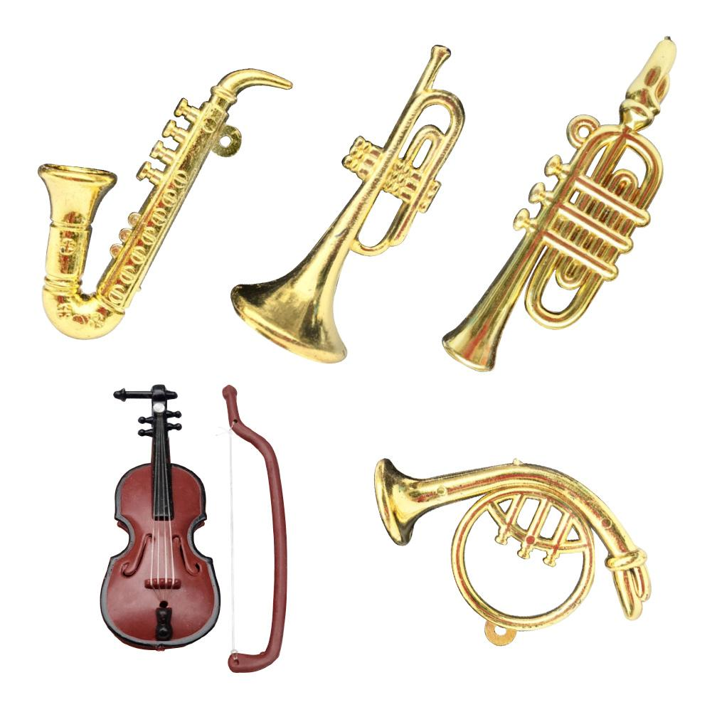 1/12 Dollhouse Miniature Plastic Violin Saxophone Model Musical Instrument Home Decor Doll DIY Crafts Toys for Children Gift