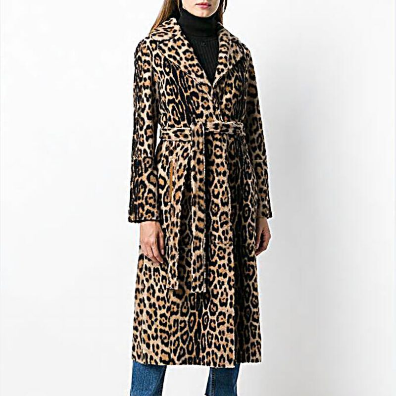 2018 New Women Fluffy Faux Fur Coat Winter Warm Leopard Print Long Sleeve Loose Outerwear Turn-down Collar Coats With Sashes