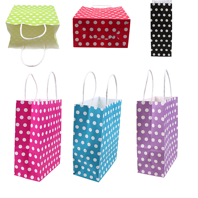 WHISM Kraft Paper Packing Bags Polka Dot Gift Bags with