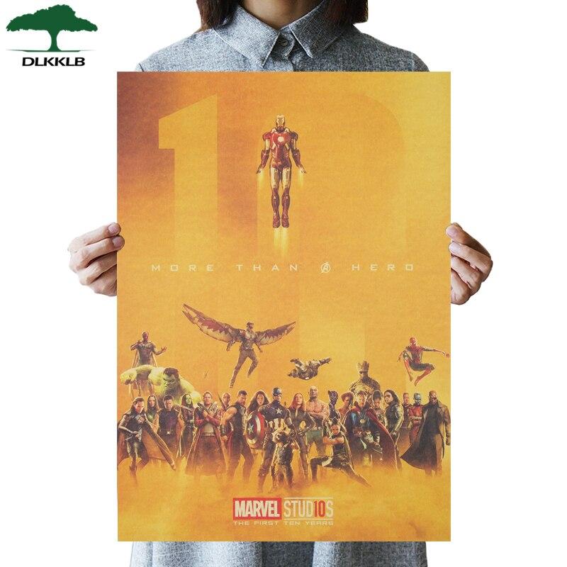 DLKKLB Marvel Vintage Avenger 10th Anniversary Movie Poster Kraft Paper Poster Theme Home Decor Painting Super Hero Wall Sticker