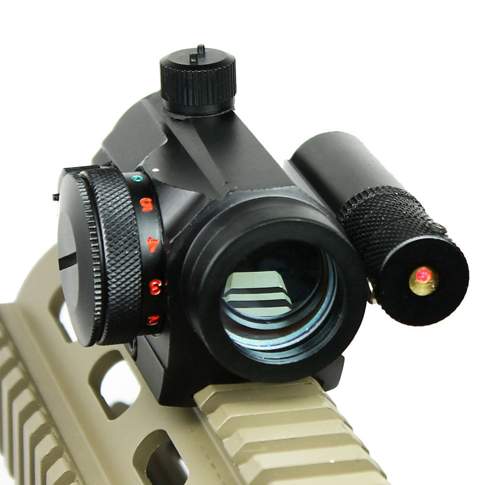 Tactical Reflex Green / Red Dot Sight Scope & Laser Sight Combo with Rail Mount Airsoft  Free shipping free shipping tactical hunting holographic 4 type reticle reflex green red dot sight laser sight combo airsoft solid black