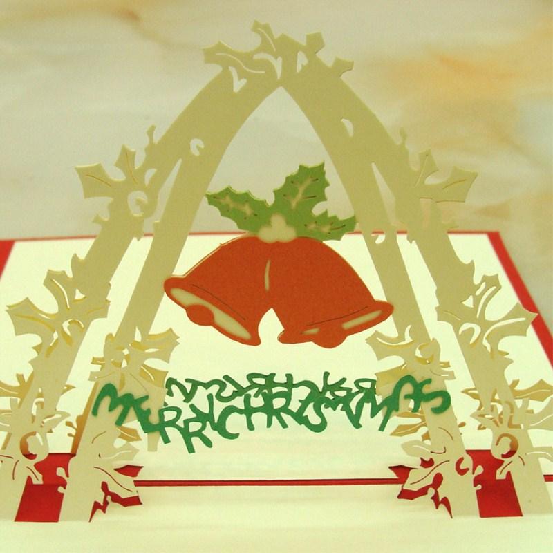3D Stereoskopischen Aushöhlen Weihnachten Glocke Cartoon Einladungskarte  Weihnachten Geschenk Geburtstag Hochzeit Postkarte DIY .