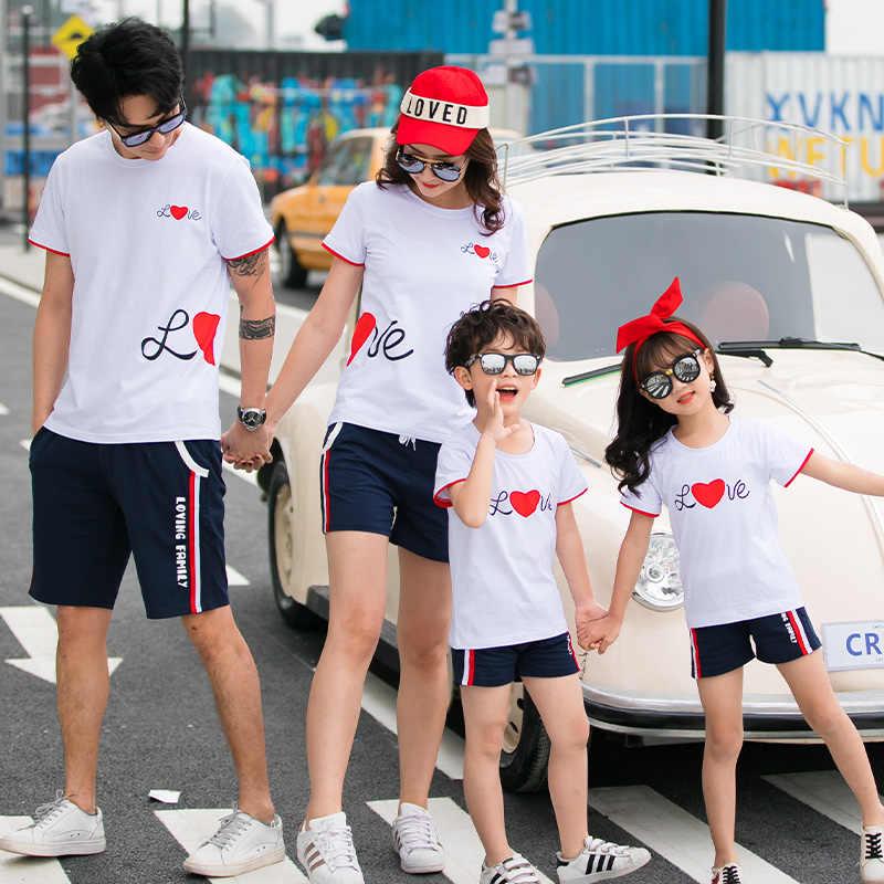 Rodzina pasujące ubrania miłość t-shirty ubrania mama i ja matka córka tata syn koszulki stroje rodzina wygląd sukienka lato
