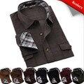 Мужские длинный рукав контрастность воротник и манжеты зима держать тёплый вельвет свободного покроя рубашки QR-1501