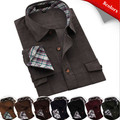 Free shipping Mens long sleeve contrast collar and cuff winter keep warm corduroy casual shirts QR-1501