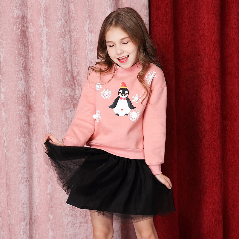 Girls' autumn dress velvet sweater 2018 new children's medium and large Penguin long sleeved sweater smartstool balance