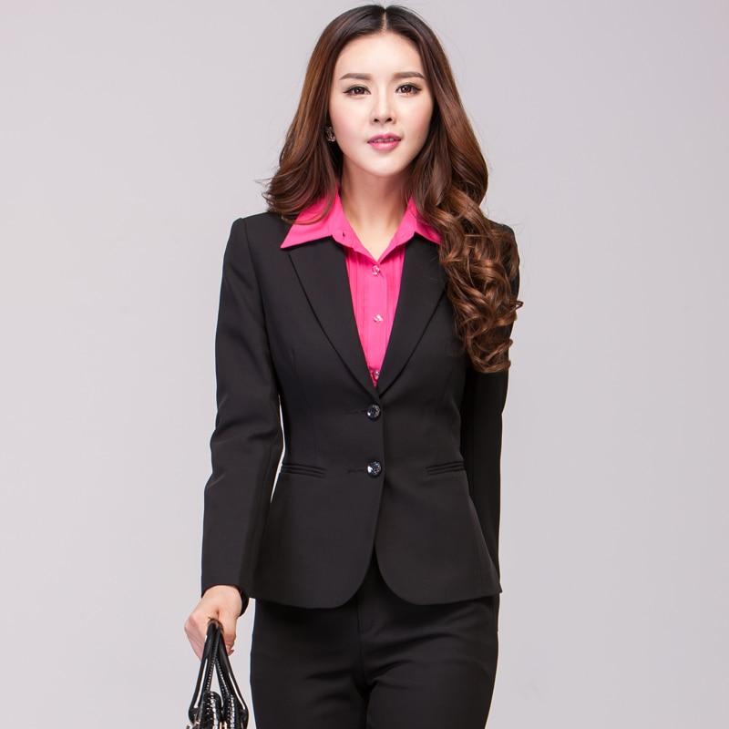 New Autumn Women Pant Suits Black Women Business Suits For Office ...