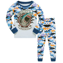 Купить с кэшбэком Kids Boys Shark Pajamas Toddler Sleepwear Clothes Sets Infant Child Robe Children New Year Pijamas For Boy Christmas Pyjamas