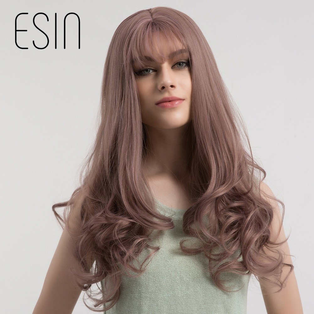 Esin 4 Colors 28 Inch Long Wavy Brown Ash Blonde Grey Purple Synthetic Neat Bangs Wig For Women Glueless Cosplay Hair Wig ...