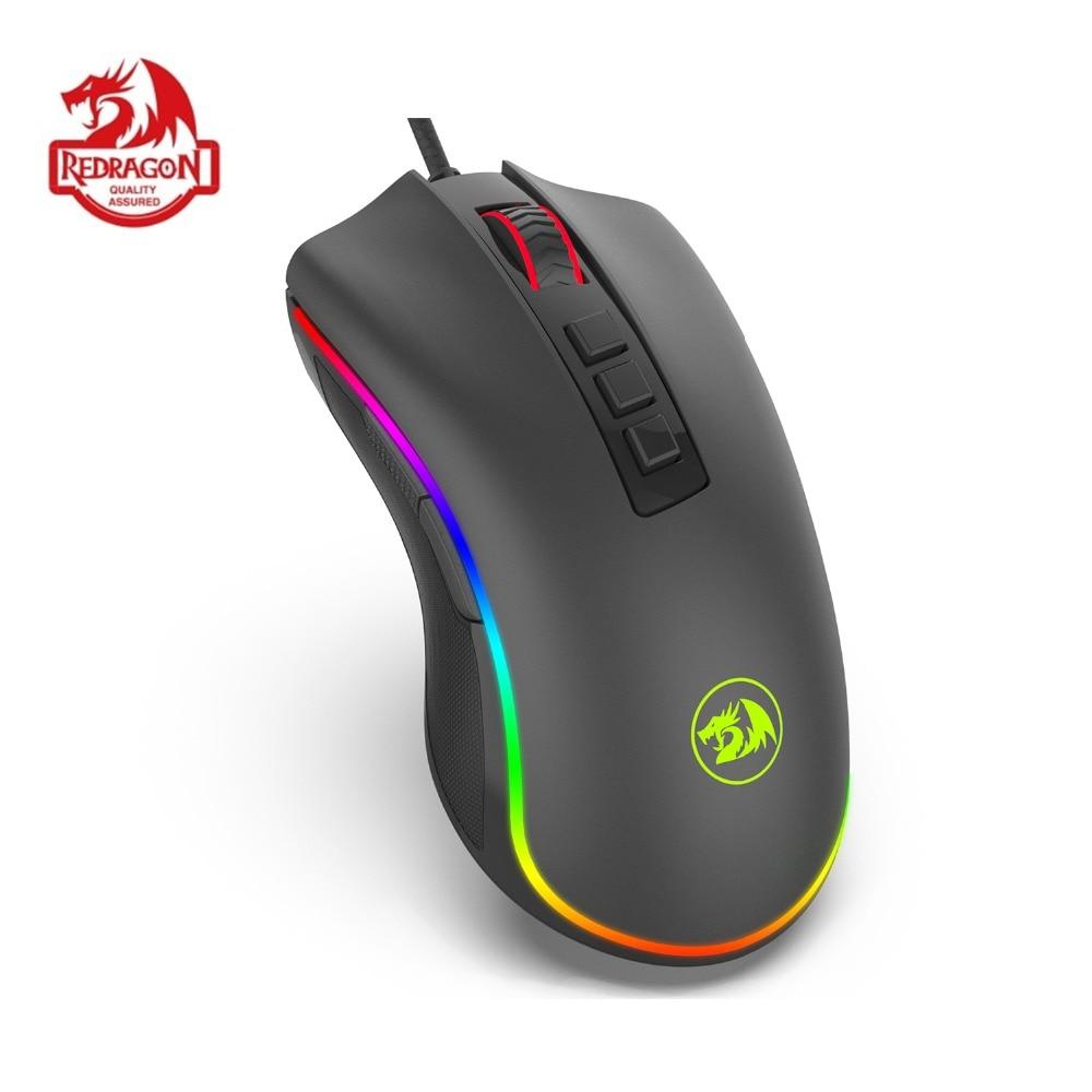 Redragon m711 cobra gaming mouse com fio rgb led cor retroiluminado 16.8 milhões chroma 10000 dpi 7 botões programáveis gamer para dota