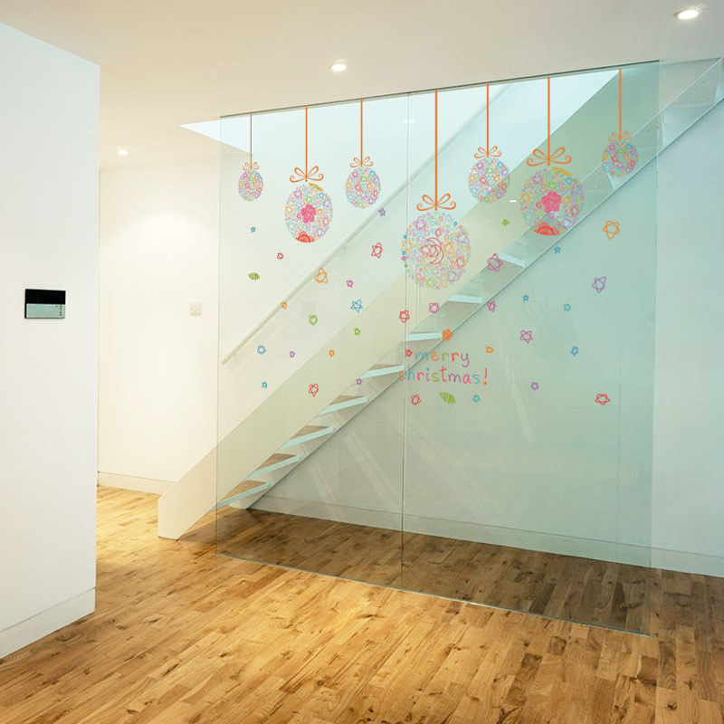 Colorful Hanging Balls Wall Stickers Christmas Ball Store Window Glass Decals Merry Decor Mural Poster In From Home