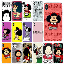 RuiCaiCa Mafalda DIY funda de lujo para iPhone 5 5Sx 6 6 7 7plus 8 8Plus X XS X MAX XR fundas Capa(China)