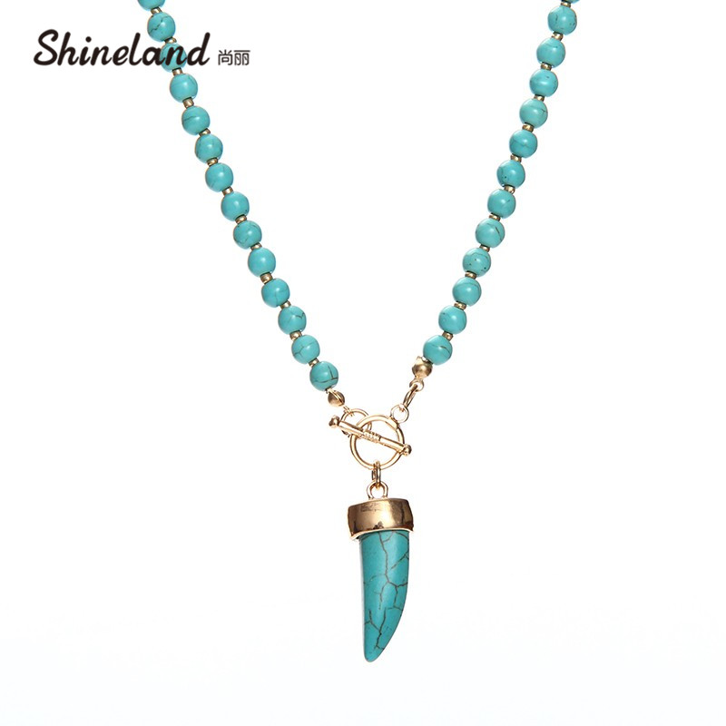 Shineland 2018 New Fashion Jewelry Exclusive Handmade Blue Stone with Tassel Necklace Charm Bead Necklace for WomenBlue Stone все цены