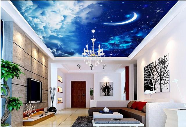 Custom 3d Ceiling Murals Wallpaper For Walls For Ciling Bedroom Sky Clouds  Moon Non Woven