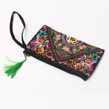 Women Ethnic National Retro Butterfly Flower Bags Handbag Coin Purse Embroidered Lady Clutch Tassel Small Flap Summer Bolsa Sale