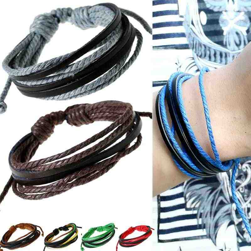 Cheap Colourful Multilayer Leather Cotton Rope Bracelets Wristband Adjustable Hand Made Bangles Men Women Clothing Accessories