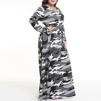 Female Large Size Long Dresses Spring Autumn Camouflage O Neck Slim Tunic Big Size Top Long Sleeve Dress Blouses Women Clothing