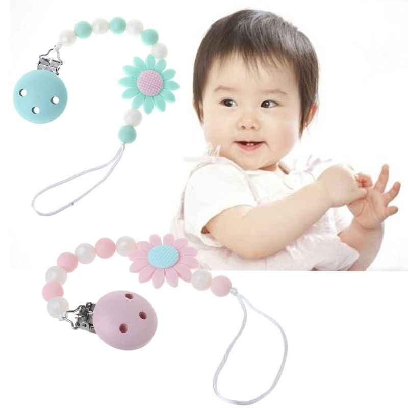 Мини Силиконовый прорезывающий сосок зажимы с безопасной успокаивающее средство с силиконовыми бусинами цепи свет держатель для соски детские игрушки-жвачки