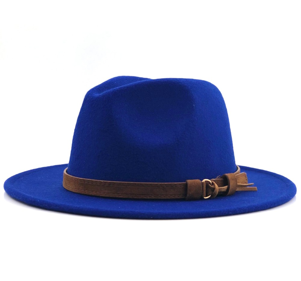 Women Men Wool Fedora Hat With Leather Ribbon Gentleman Elegant Lady Winter Autumn Wide Brim Jazz Church Panama Sombrero Cap