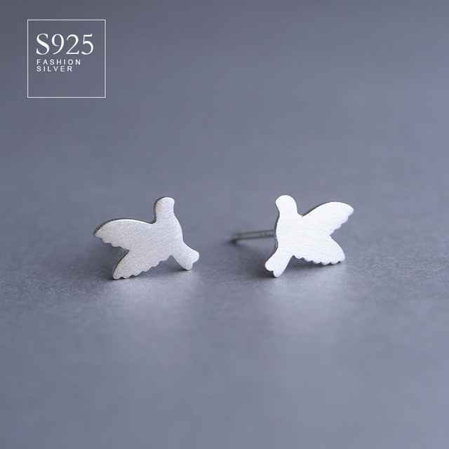 s925 silver earrings dove sterling silver peace female simple wire