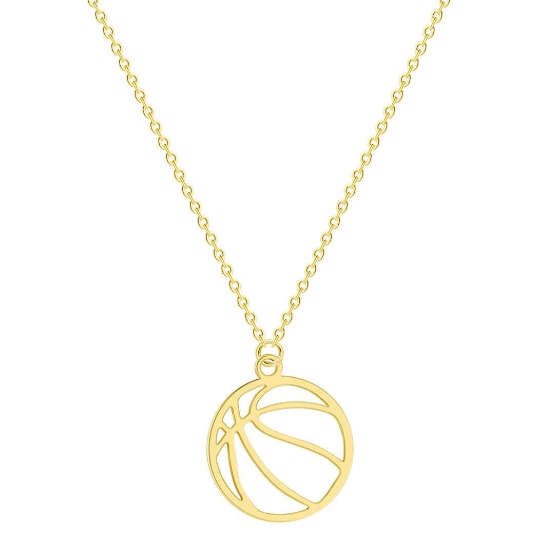 Collar redondo colgante de voleibol joyería de acero inoxidable deporte encanto Volley bola Collar para Mujeres Hombres regalo