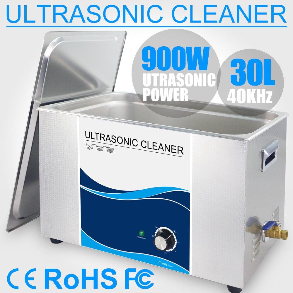 30L Banho de Limpeza Ultra-sônica de Aço Inoxidável 40 khz Temporizador Poder 110 v 220 v Motor Do Carro Injector Ferramentas de Laboratório médica da Placa do PWB