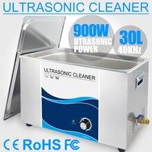 30L ультразвуковой очистки Нержавеющаясталь очиститель Ванна 40 кГц таймер Мощность 110 V 220 V двигателя автомобильный инжектор лаборатории инструменты медицинской печатной платы