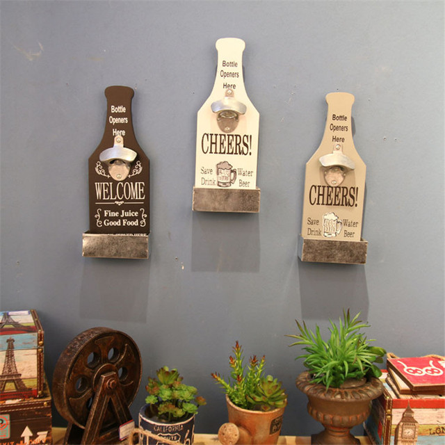 Metal Wood Wine Beer Bottles Opener Home Kitchen Bar Wall Mounted Openers Kitchenware Barware