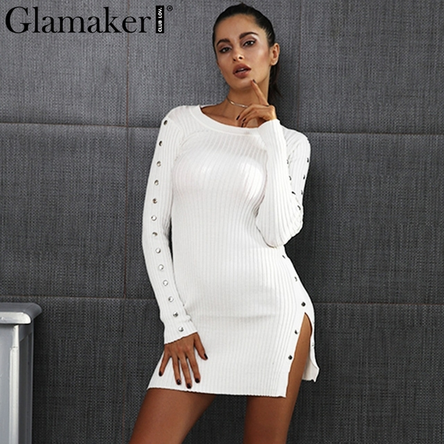49915061fb Glamaker Knitting white sweater dress women Sexy side split bodycon dress  Solid long sleeve dress autumn