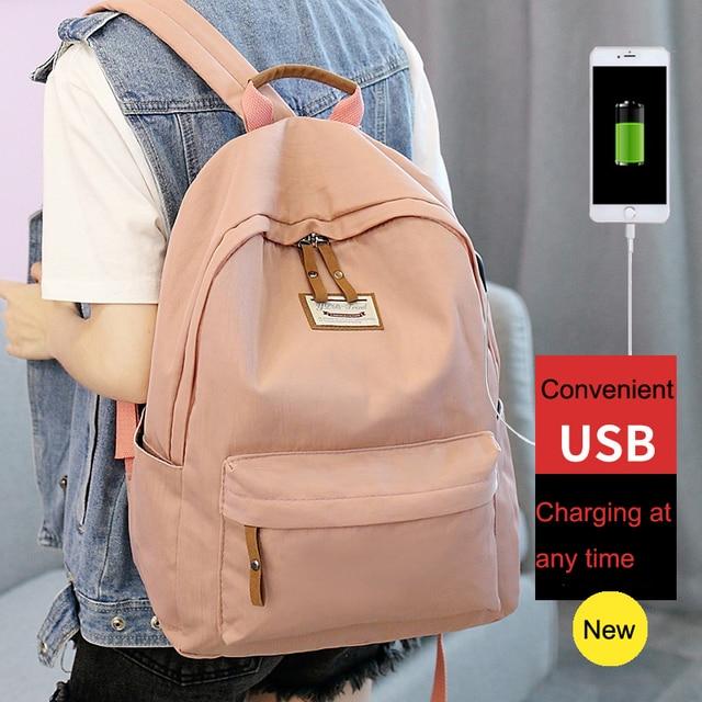 b5ca5b6465 Loodial waterproof school backpack female USB charging large capacity  kanken school bag for teenage girls fashion mochila
