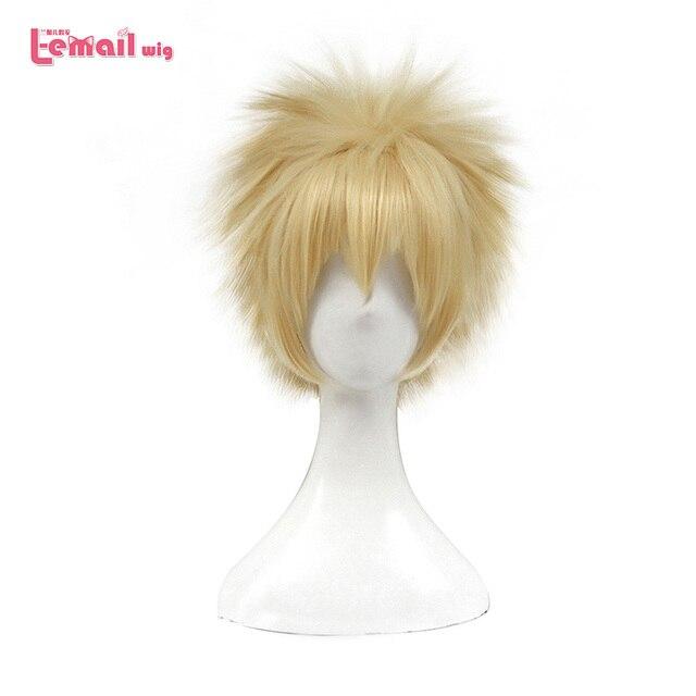 L e mail peruca novo meu herói academia cosplay perucas bakugou katsuki 30cm amarelo curto cabelo sintético perucas cosplay peruca
