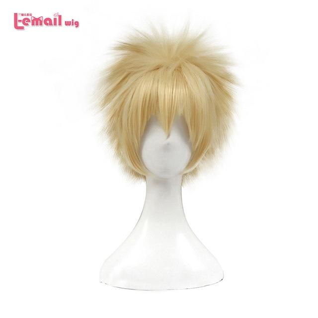 L email wig New My Hero Academia Cosplay Wigs Bakugou Katsuki 30cm Yellow Short Men Synthetic Hair Perucas Cosplay Wig