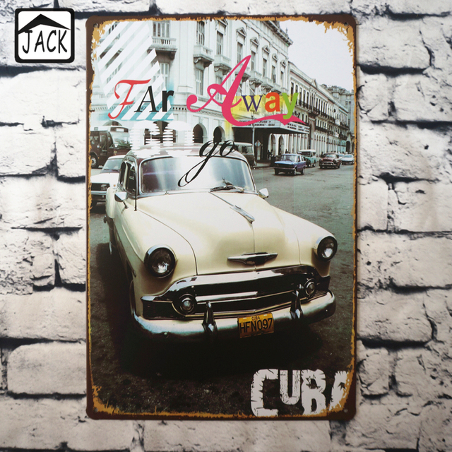 far away retro car chic home bar vintage metal signs home decor vintage tin signs pub