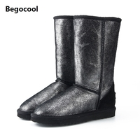 Begocool Top Quality Genuine Leather UG Snow Boots For Women Waterproof High Winter Boots Warm Women
