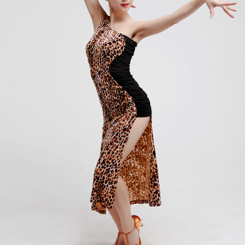 Show details for Beauty Tongtian Hui Hot Cross With Inclined Shoulder Leopard Adult Female Latin Dance Exercise Performance Under 00018