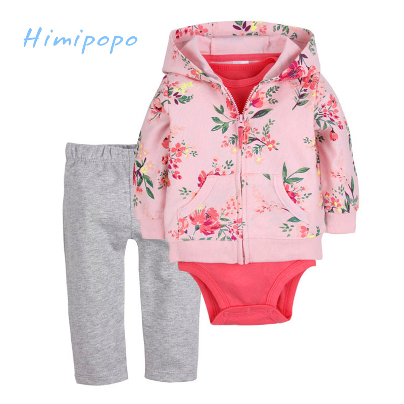 HIMIPOPO Baby Girls Sets Floral Kids Cardigan Set Full Toddler Baby Romper Newborn Jumpsuits 3pcs Girls Coat+Bodysuit+Long Pant himipopo 2 pcs baby girls bodysuit dress