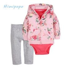 HIMIPOPO Baby Girls Sets Floral Kids Cardigan Set Full Toddler Baby Romper Newborn Jumpsuits 3pcs Girls