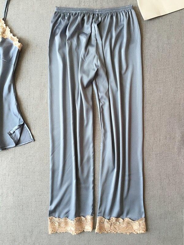Женские атласные штаны для сна с эластичным поясом, Повседневная Пижама, одежда для сна, штаны для отдыха