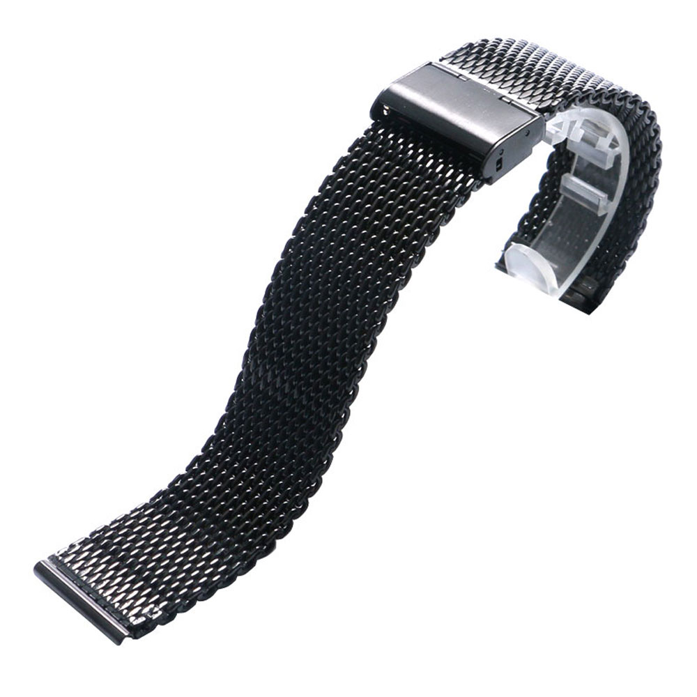 купить 20/22mm Black Stainless Steel Mesh Watch Bands High Quality Deployment Buckle Watch Strap Men Women Replacement недорого