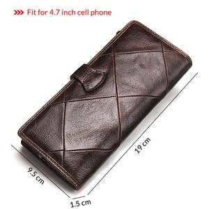 Image 2 - 2020 echtes Leder Brieftaschen Kupplung Männer Patchwork Geldbörse Und Handy Brieftasche Lange Luxus Marke Münze Tasche Karte Halter Retro Stil