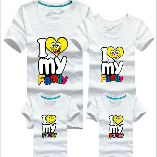 11154324 I love my family summer Mom and Dad son daughter Family fitted Family  loading lovers cotton short-sleeved T-shirt